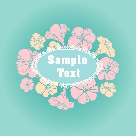 rosy: Vintage lace text frame with flowers on blue background  Illustration
