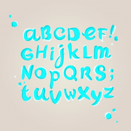 Hand written cute turquoise font in watercolors  Illustration