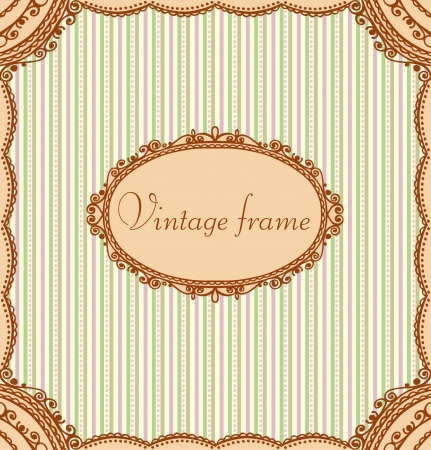 Vintage ornamental beige lace text frame  Golden template background for greeting card, invitation, message