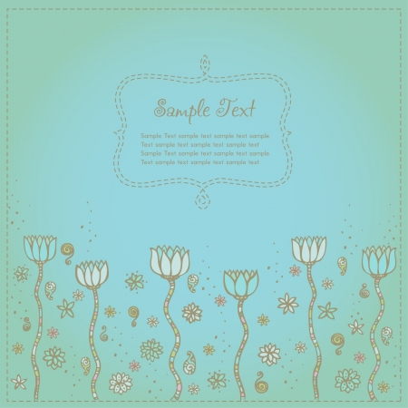 Cute floral background with fantasy spiral elements and flowers  Illustrated background with lotus and place for your text Stock Vector - 15235925