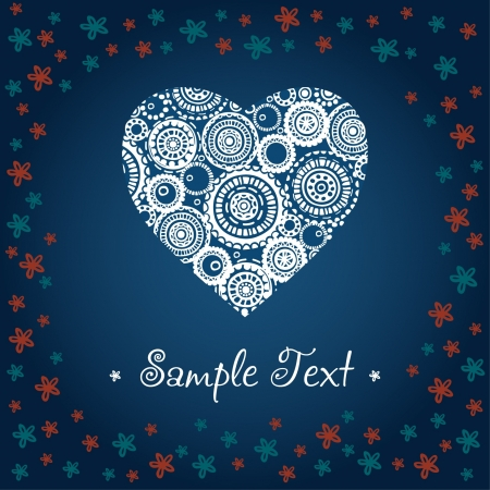 Vintage romantic decorative greeting card with ornamental heart, flowers and text frame Stock Vector - 15235927
