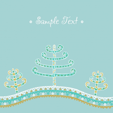 Winter decorative ethnic ornamental background with Christmas trees  Sample greeting card with decorative fir trees Stock Vector - 15755378
