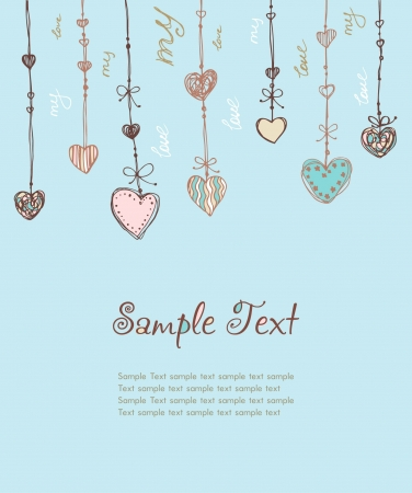 Decorative illustrated template for design greeting card, invitation, scrapbooking, etc  Cute romantic background with different ornamental hearts and sample text