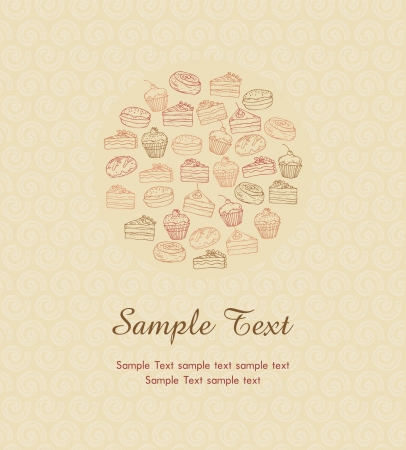 Illustration with pastry with sample text on ornamental beige background  Different hand drawn cakes in circle with place for your text, template for design and decoration