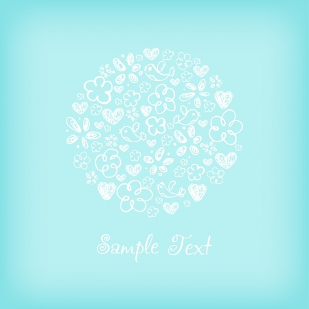 Illustrated hand drawn template for greeting card with place for your text  Romantic illustration with flowers, birds, hearts Stock Vector - 15755384