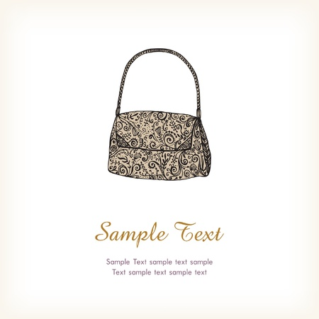 Text background with illustration  Hand drawn illustration with fashionable woman bag  Template with stylish beautiful black lace bag and place for text