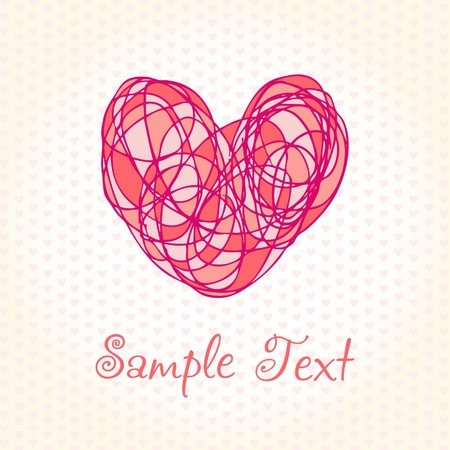 Romantic hand drawn background with colorful cute heart  Template for design greeting card with illustration and sample text Stock Vector - 16379492