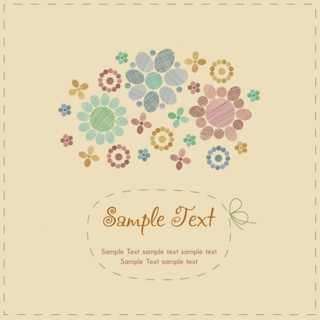 Sample cute romantic vintage greeting card with stylized flowers, round decorative elements and place for your text  Template with text frame for design and decoration