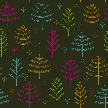 Seamless childish cute pattern with ornamental trees  Forest seamless colorful texture, template for design wrapping paper, textile, backgrounds, package Stock Vector - 16379498