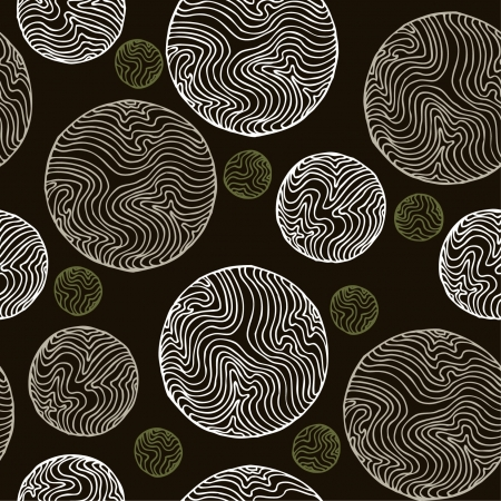 Abstract seamless vintage spiral pattern  Endless ancient black and white texture, template for design and decoration wrapping paper, textile, package,   Illustration