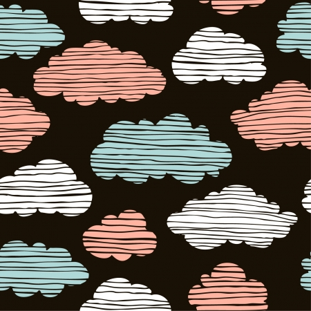 Abstract seamless pattern with clouds  Colorful endless stylized hand drawn cloudy sky texture, template for design and decoration