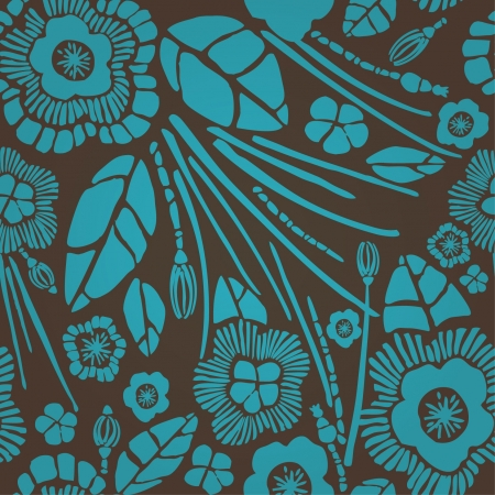 Seamless floral rich pattern  Velvet effect endless texture with turquoise summer flowers on brown background  Template for design and decoration Stock Vector - 16379491