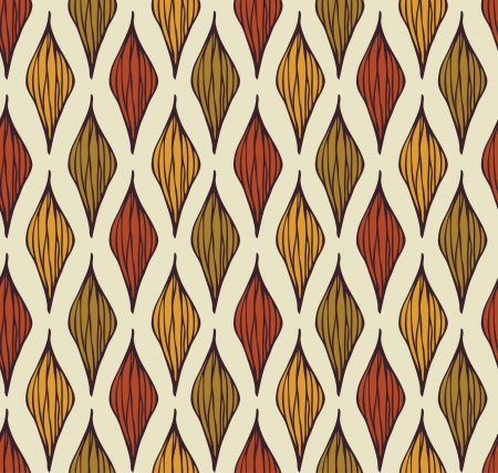 Seamless geometrical autumn pattern  Colorful endless texture with stylized linear leaves, template for design and decoration