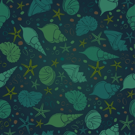 デザインと装飾のグリーティング カードの抽象的な暗い果てしない海テクスチャ テンプレートを貝殻や石とのシームレスな海パターン カバー、繊維、backgeounds、包装紙、パッケージ