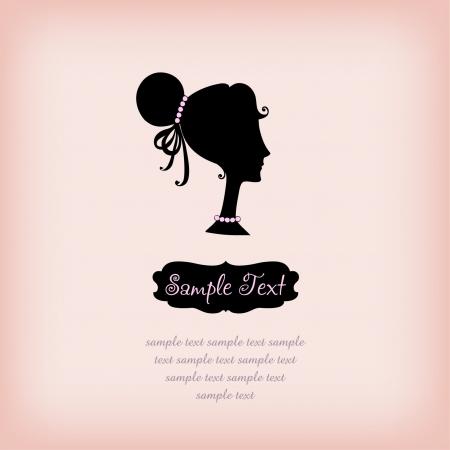 テキスト フレーム テンプレートの手で設計のためにバラの背景にシルエット ガール プロファイル サンプル テキスト付きの女の子を描画