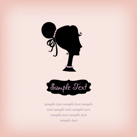 stylist: Silhouette girl on rose background with text frame  Template for design with hand drawn girl in profile with sample text  Illustration
