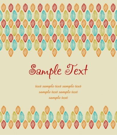 Template for design with colorful lace pattern and place for your text  Hand drawn ornamental ethnic background with sample text Stock Vector - 16379642