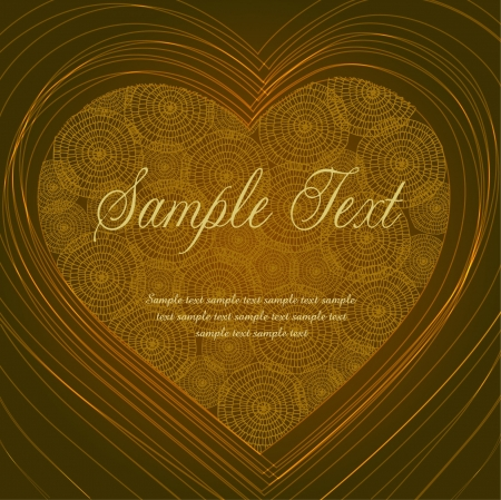 Template with lace heart  Golden glamour shiny background for design and decoration with place for your text Stock Vector - 16519028