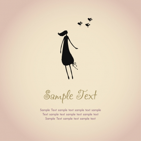 Text background with illustration of silhouette girl and birds, template for design