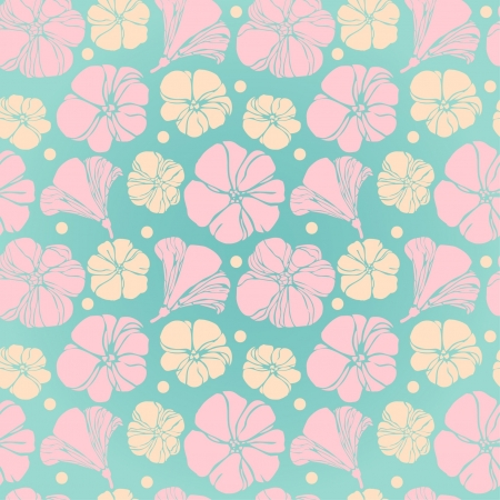 Floral seamless texture  Colorful flowers on turquoise background  Template for design textile, wrapping paper, greeting cards  Vector