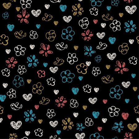 children s art: Abstract colorful seamless doodle pattern on black background  Decorative texture with birds, flowers and heart, template for design and decoration