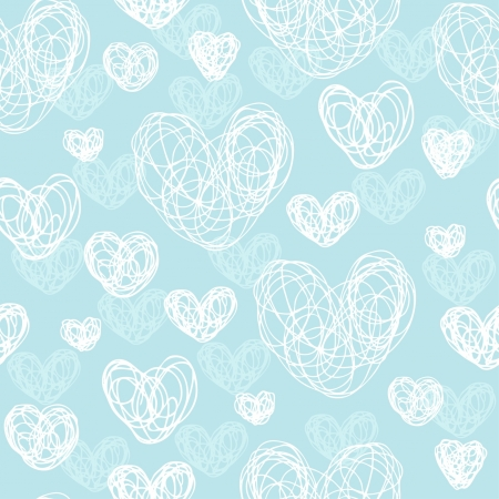 Romantic hand drawn doodle seamless pattern with white harts  Endless cute texture  Template for design greeting card, textile, wrapping paper, covers, web backgrounds