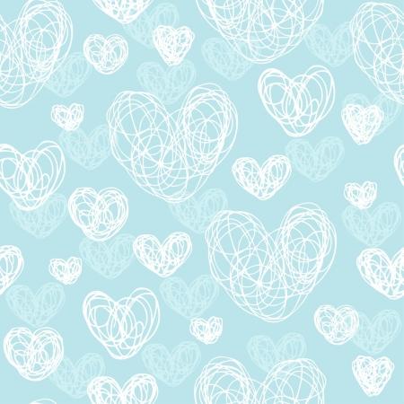 Romantische hand, getrokken doodle naadloze patroon met witte hartjes Endless leuke textuur sjabloon voor ontwerp wenskaart, textiel, inpakpapier, covers, web achtergronden