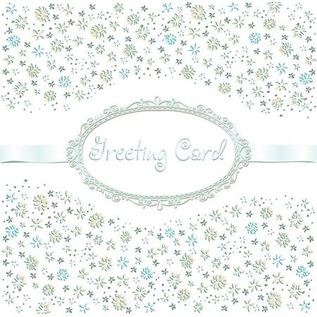 ビンテージのロマンチックなグリーティング カードの花を持つ、リボンとテキスト フレーム、テキスト テンプレートのデザインと装飾カバー、パッケージ、背景、スクラップブッ キングのための場所とホワイト バック グラウンド装飾的な花カード  イラスト・ベクター素材