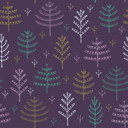 Colorful seamless ornamental forest pattern with fir trees  Decorative endless texture  Template for design and decoration  Vector
