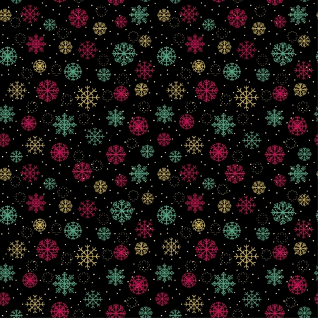 Decorative colorful seamless pattern with ornamental snowflakes  Endless festive texture  Template for design wrapping paper, textile, package, greeting cards  Vector