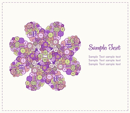 Decorative illustrated background with sample text and colorful decorative stylized flower  Template or design, scrapbooking and decoration  Stock Vector - 16641613