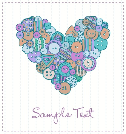 Design template for greeting card with hand drawn decorative buttons heart and sample text  Romantic illustrated background with ornament and place for your text Stock Vector - 16641572