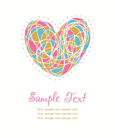 Decorative illustrated text background  Layout with hand drawn cute heart and sample text  Template for design greeting cards, scrapbooking, covers