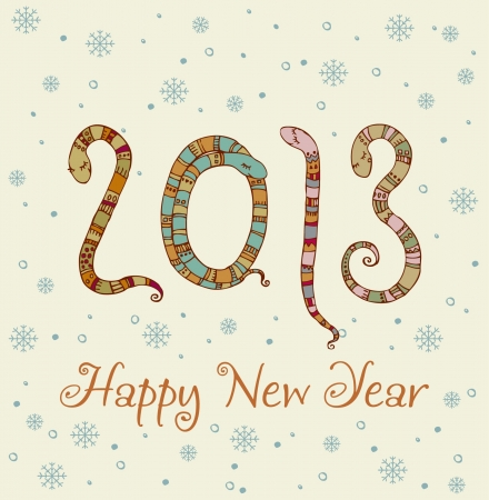 Greeting card with  New Year s illustration  Season s greeting hand drawn ornamental background with text  Template for design, decoration, scrapbooking