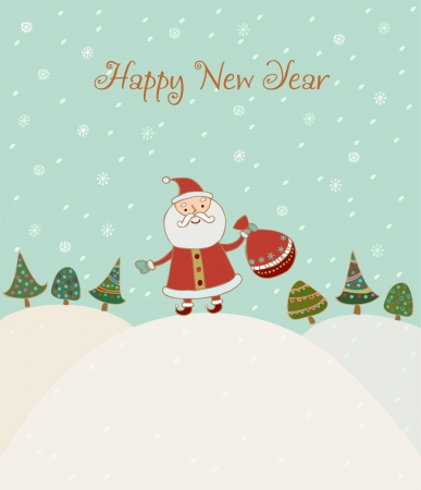 Illustrated hand drawn New Year greeting card with sample text  Template for design and decoration  Vector