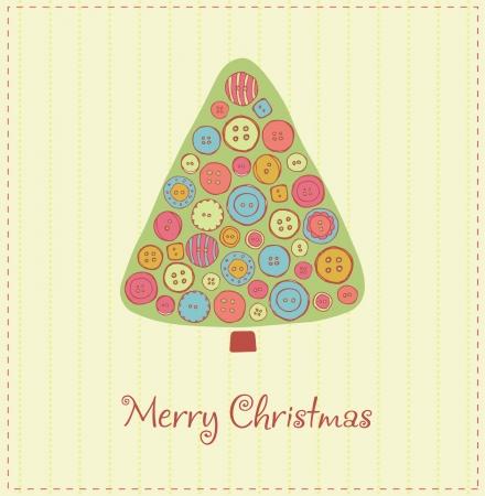 Кнопки: Иллюстрированный шаблон для дизайна Рождественская открытка с праздничной елкой, украшенной разноцветными кнопками и образец текста Иллюстрация