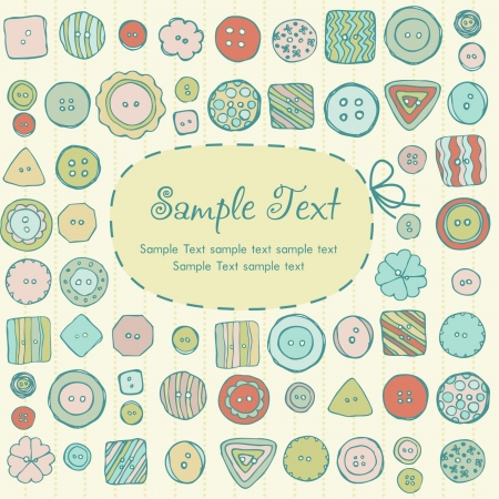 romance image: Illustration hand drawn set with cute comic buttons  Decorative colorful background with buttons pattern  Template for design and decoration greeting cards, covers