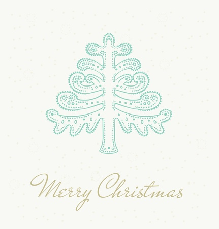 Illustrated template for design Christmas card with festive ornamental fir tree and sample text  Illustration