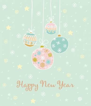 New Year greeting card with hand drawn illustration, decorative ornamental balls, snowflakes and stars  Template for design and decoration  Vector