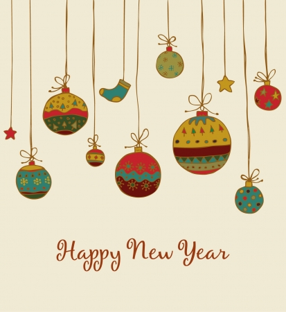 New Year s greeting with hand drawn illustration and sample text  Template for design and decoration Vector