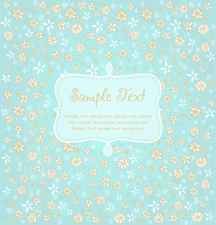 Romantic floral background with place for your text  Design template with flowers and text frame for greeting cards, covers, wrapping, packages  Vector