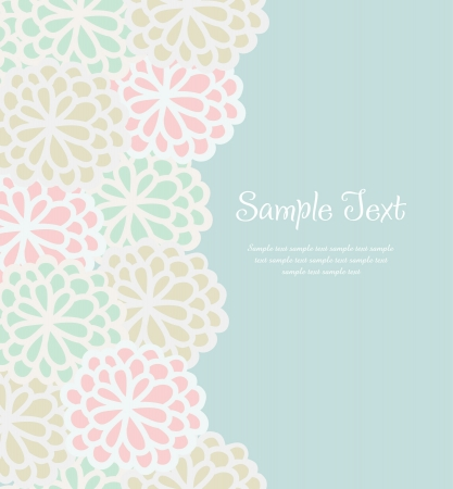 Retro text background with decorative flowers  Vintage floral template for greeting card with sample text Stock Vector - 16641480