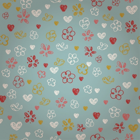 Seamless doodle texture with birds flowers and hearts  Endless childish cute pattern  Template for design and decoration textile, backgrounds, wrapping paper, package  Vector