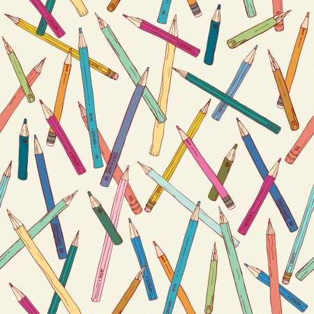 Seamless texture with hand drawn comic pencils  Colorful endless pattern  Template for design backgrounds, textile, wrapping paper, package Stock Vector - 16641945