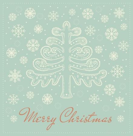 テンプレート デザインのグリーティング カード装飾的な装飾的なファンタジーのモミの木、雪片、冬のあなたのテキストのための場所を示す背景