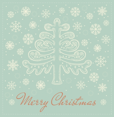 Template for design greeting card with decorative ornamental fantasy fir tree, snowflakes and place for your text  Winter illustrated background