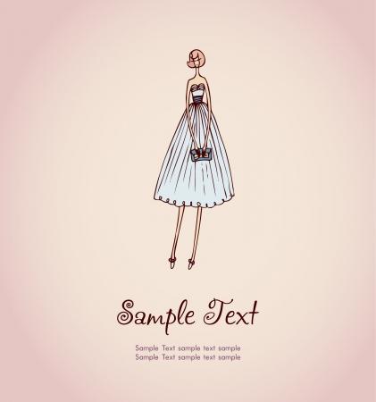 手描きのイラストと美しいカクテル ドレスとデザインと装飾のグリーティング カード、スクラップ ブックのためのハンドバッグでブロンドの女の子のイメージとテキスト テンプレートの配置