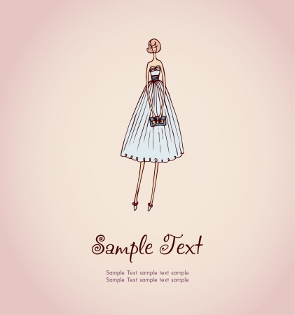 Hand drawn illustration and place for your text  Template with image of blonde girl in beautiful cocktail dress and handbag for design and decoration greeting cards, scrapbooking  Illustration