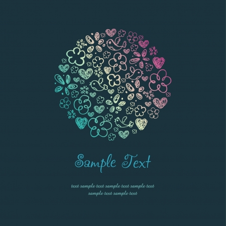 Text background with doodle hand drawn illustration  Romantic bright template for design and decoration  Vector