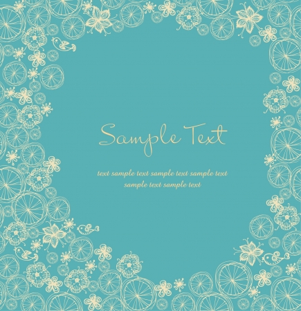 Ornamental floral text background with sample text  Template with flowers and butterflies for design greeting cards, covers, package Stock Vector - 16803661